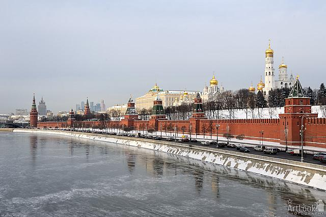 Kremlin Embankment and Frozen Moskva River