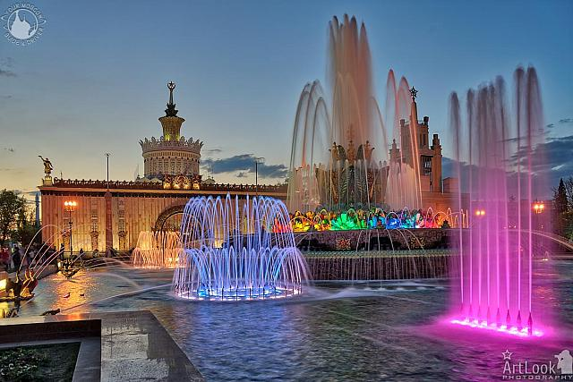 Colorful Stone Flower Fountain in Spring Twilight