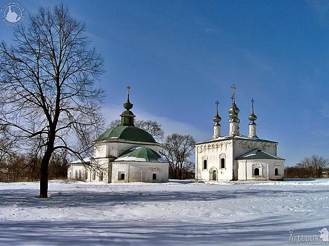 Winter Scenery with Old Churches of Suzdal