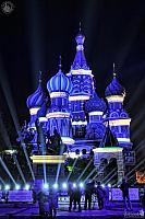 St. Basil's Cathedral Painted by Light in Blue Color with White Stripes