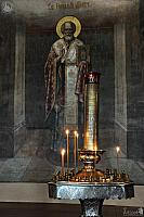 Icon of St. Nicholas of Myra and Church Candle Stand