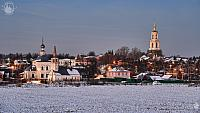 Houses and Stone Churches of Suzdal at Winter Twilight