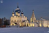 Architectural Ensemble of Suzdal Kremlin in Winter Twilight