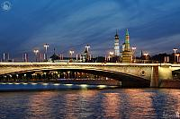 Lights of Festive Bolshoy Moskvoretsky Bridge in Twilight