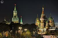 Lights of Kremlin Stars and Amazing St. Basil's Cathedral at Night