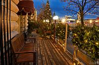Christmas Decorations of Outdoor Caf? at Red Square in Twilight