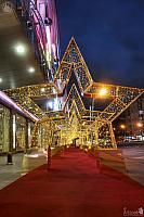 Alley of Golden Stars at Evropeysky Shopping Centre in Twilight