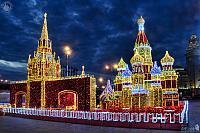 Light Installations of Main Moscow Attractions Under Twilight Skies