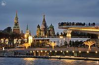 Moscow Landmarks Framed by Lights of Zaryadye Park in Twilight