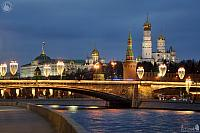 Festive Lights of Bolshoy Moskvoretsky Bridge & Moscow Kremlin