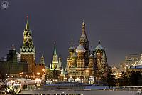 Holiday Lights at Savior Tower and St. Basil's Cathedral in Dusk