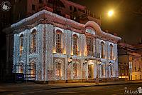 Outdoor New Year Décor of Pushkin Café at Night