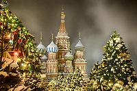 St. Basil's Cathedral Framed by Christmas Trees in Snow at Night