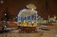 2019 New Year Tram on Tverskaya Zastava to Old Arbat at Night
