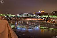 Festive Bohdan Khmelnytskyi Bridge on a Winter Night