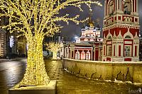 New Year Lights at St. George Church on Varvarka in Winter Night