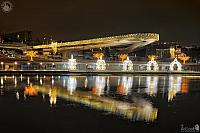Illuminated Floating Bridge & Pier of Zaryadye Park on New Year's Eve