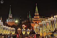 Christmas Street Lights & Moscow Kremlin Towers in Winter Holidays