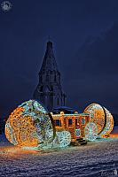 New Year Egg with Carriage and Ascension Church in the Winter Dusk