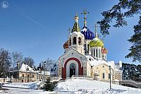 Holy Igor Church Framed by Tree in Winter (Angle View)