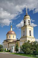 Transfiguration Church Under White Clouds in Summer