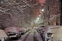 Parking After Heavy Snowfall at Victory Park in Dark Morning