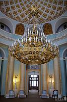 Three-Tier Gilded Chandelier in Oval Room