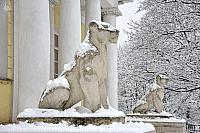 Covered Snow Sculptures of Lioness at the Palace Pavilion