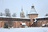 Walls and Towers of Savior Monastery in Heavy Snowfall