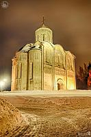 Majestic St. Demetrius Cathedral in a Winter Night (angle view)