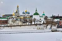 Overview Saint Sergius Lavra from Blinnaya Hill in Winter