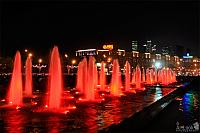 Red Lighted Fountains Along the Victory Park