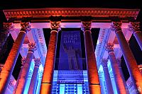 Corinthian Style Columns in Colorful Lights