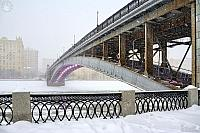 Angle View of the Smolensky Metro Bridge in Snow