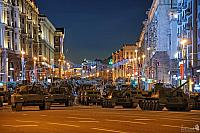 Russian Military Hardware on Tverskaya Before Nighttime Rehearsal