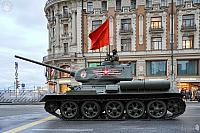 Legendary T-34 Tank with Waving Red Banner
