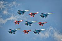 Diamond-shaped Formation of Russian Fighter Jets MiG-29 & Su-30SM