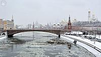 Bolshoy Moskvoretsky Bridge & Moscow Kremlin Towers in Snow