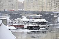 Docked River Palace at Pier Kievskaya in February Blizzard