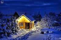 Little Russian Wooden House-Banya After the Blizzard in Twilight