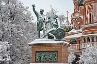 Monument to Minin and Pozharsky Framed by Trees in Snow