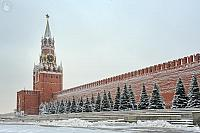 Spasskaya Tower and Kremlin Wall in Snow