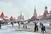 Tourist Attractions on Red Square in Heavy Snowfall