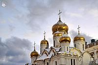 Golden Domes of Annunciation Cathedral in Winter Twilight (Moscow Kremlin)