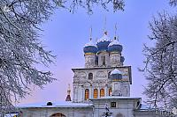 Domes of Kazan Church Framed by Trees in Winter Twilight (Kolomenskoye)