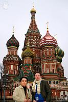 In front of spectacular towers of St. Basil's