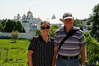 At background of Pokrovsky Convent in Suzdal