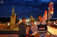 In Background of Famous Moscow Attractions Under Twilight Skies