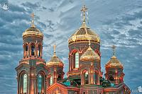 Illuminated Domes of the Resurrection Cathedral in Twilight