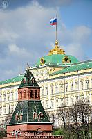 Russian Flag On the Spire of the Grand Kremlin Palace